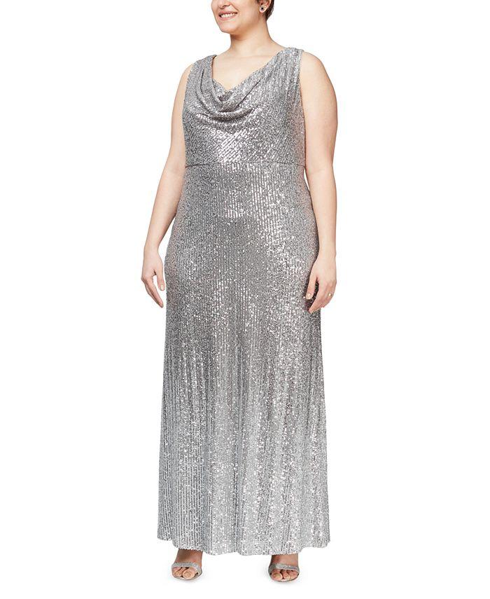 Alex Evenings - Plus Size Cowlneck Sequin Gown