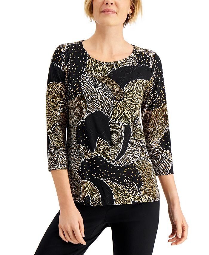 JM Collection - Printed Jacquard Top