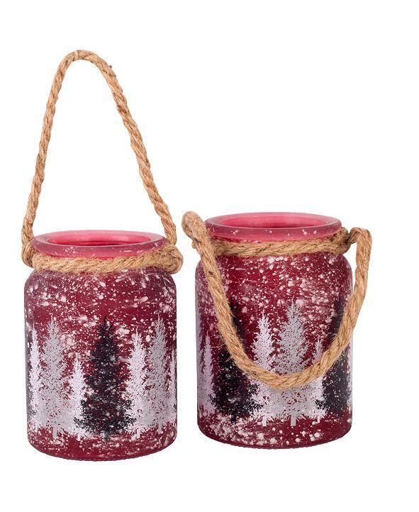 Home Essentials Holiday Glass Lantern, Set of 2