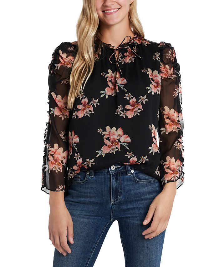 CeCe - Ruffled Printed Blouse