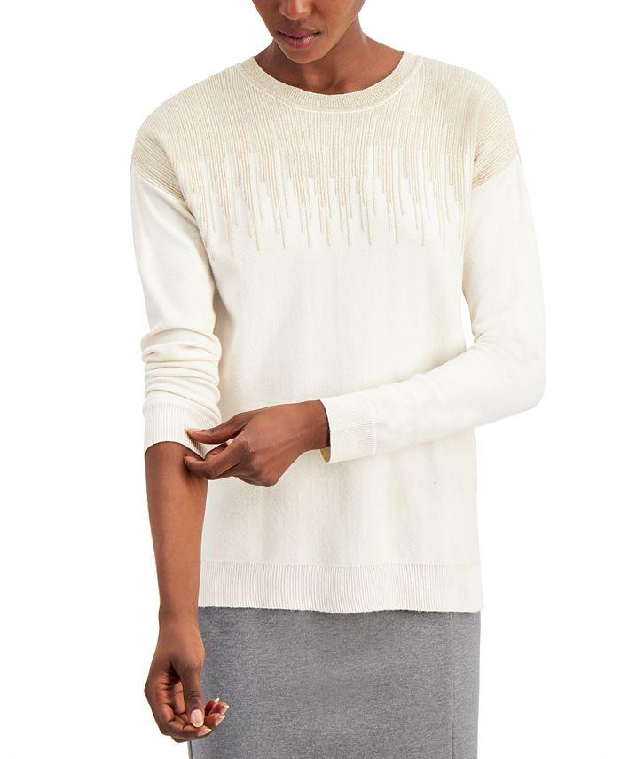 Alfani - Metallic-Detail Vented-Hem Sweater