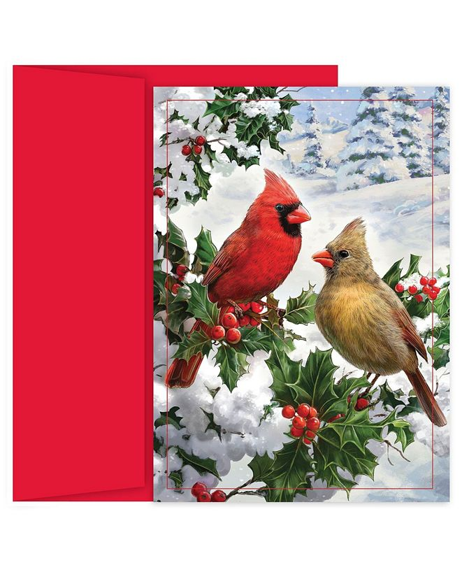 Masterpiece Cards Pine Pearched Cardinal Holiday Boxed Cards, 16 Cards and 16 Envelopes