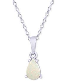 """Opal Teardrop 18"""" Pendant Necklace (1/4 ct. t.w.) in Sterling Silver"""
