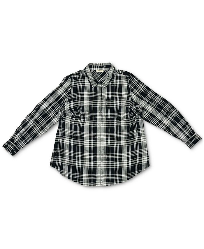 Style & Co - Petite Plaid Twill Collared Shirt