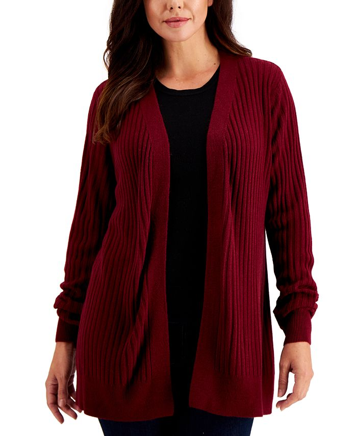 Karen Scott - Rib-Knit Open Cardigan