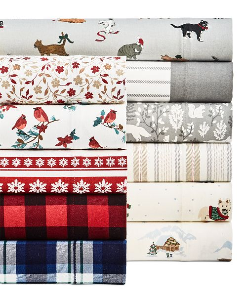 Martha Stewart Collection Printed Cotton Flannel 3 Pc Twin Xl Sheet Set Created For Macy S Reviews Sheets Pillowcases Bed Bath Macy S