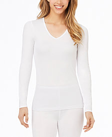 Cuddl Duds Softwear Lace-Edge V-Neck Top
