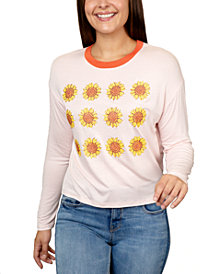 Rebellious One Juniors' Sunflowers Graphic Ringer T-Shirt