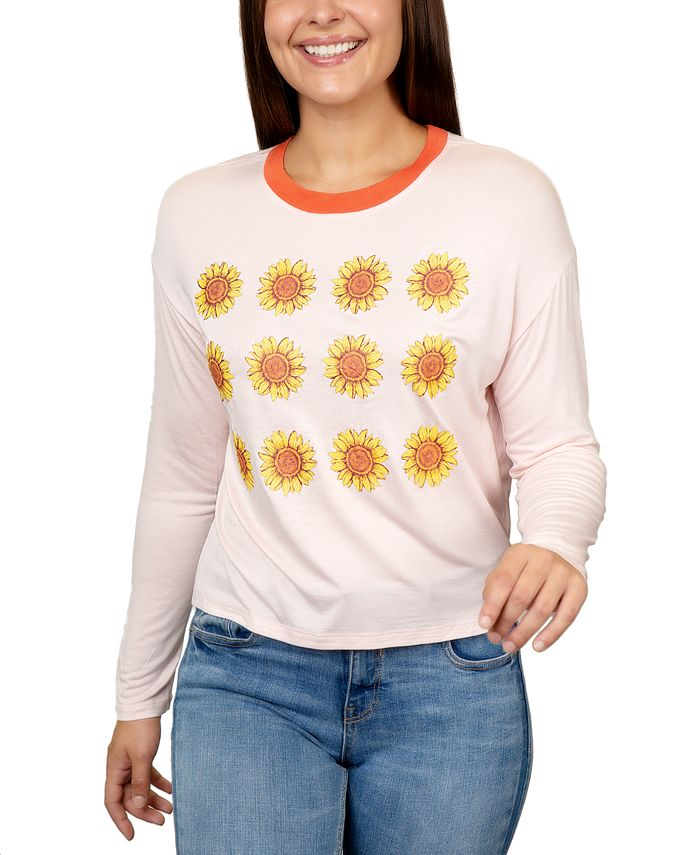 Rebellious One - Juniors' Sunflowers Graphic Ringer T-Shirt