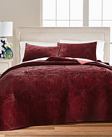 LAST ACT! Medallion Tufted Velvet Twin/Twin XL Quilt, Created for Macy's
