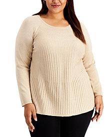 Alfani Plus Size Metallic Ribbed-Knit Sweater, Created for Macy's