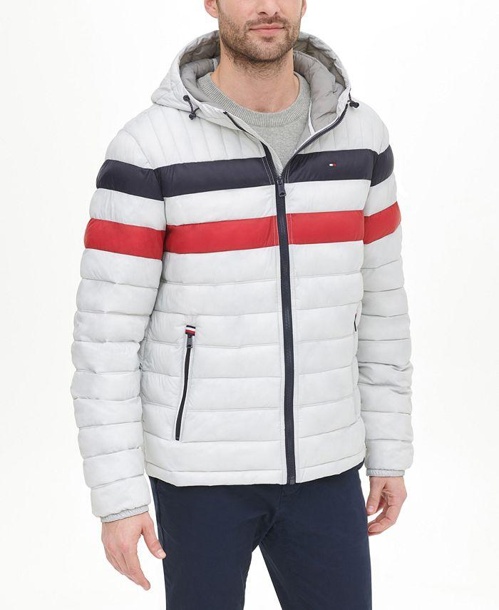 Tommy Hilfiger - Men's Quilted Color Blocked Hooded Jacket