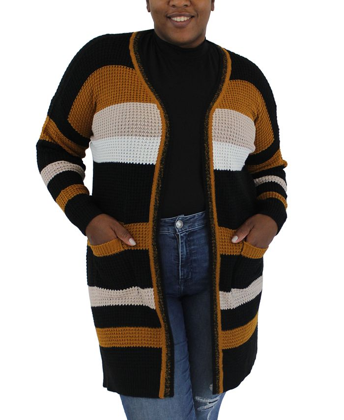 FULL CIRCLE TRENDS - Trendy Plus Size Striped Cardigan Sweater