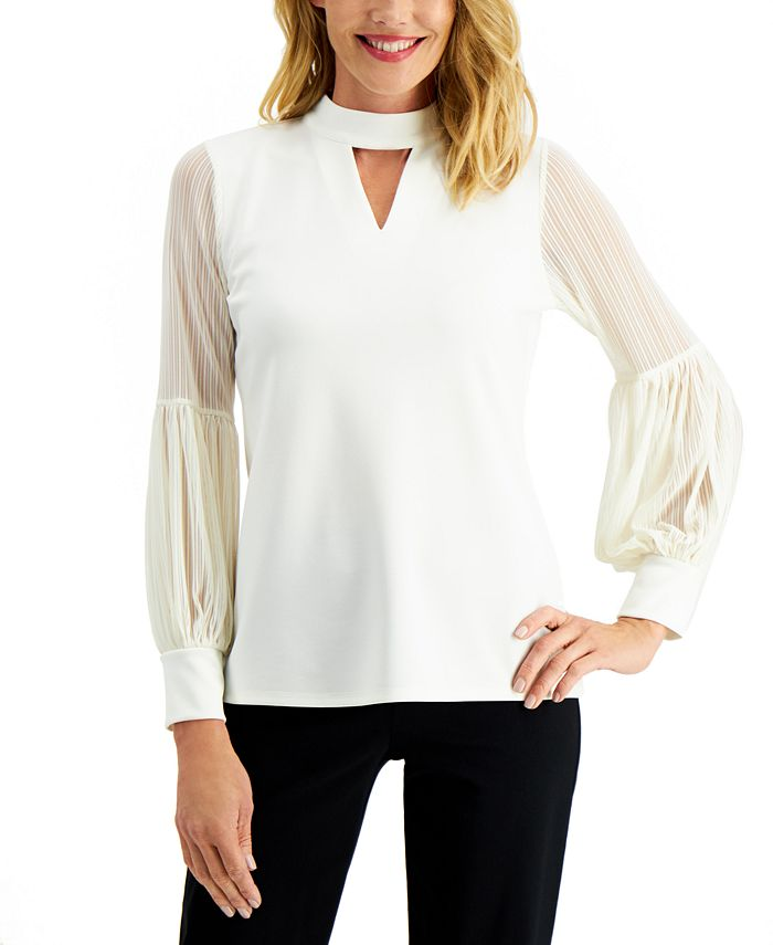 JM Collection - Sheer-Sleeve Top