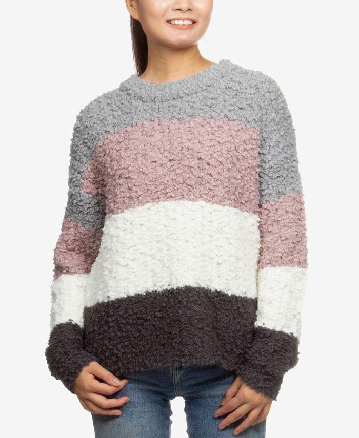 Hippie Rose - Juniors' Striped Plush Pullover Sweater