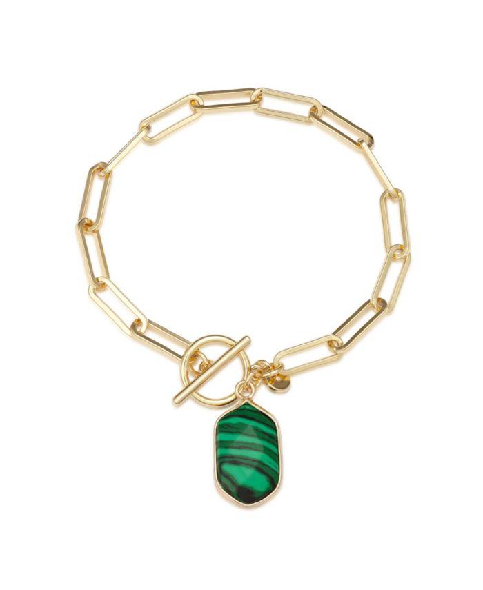 Unwritten Fine Silver Plated Semi Precious Malachite Stone Toggle Link Bracelet in Gold & Reviews - Bracelets - Jewelry & Watches - Macy's