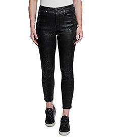 Seven7 High-Rise Faux-Snakeskin Skinny Jeans