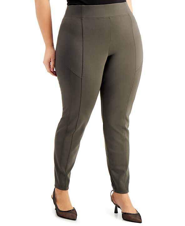 INC International Concepts INC Plus Size Wide-Waistband Pull-On Pants, Created for Macy's