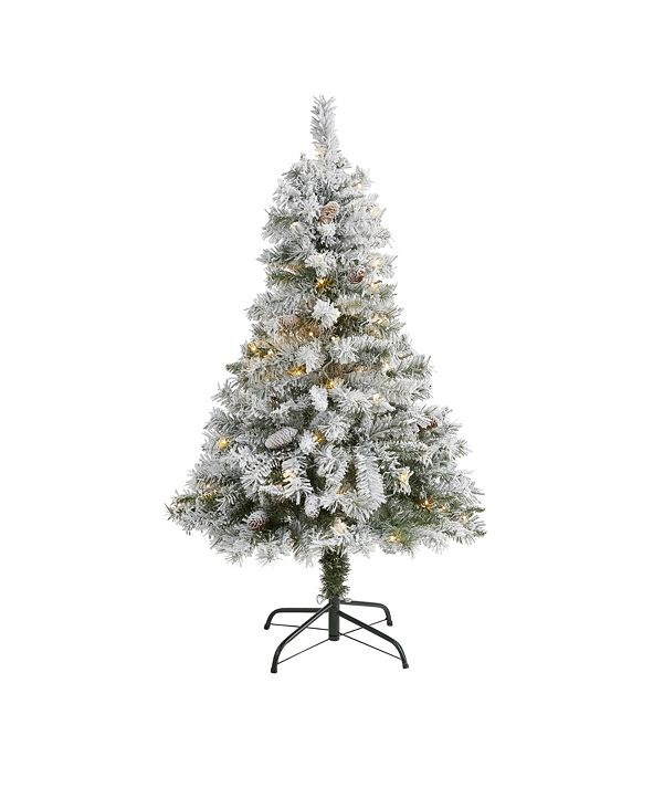 Nearly Natural Flocked River Mountain Pine Artificial Christmas Tree with Pinecones and 100 Clear LED Lights