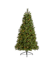Nearly Natural Golden Tip Washington Pine Artificial Christmas Tree with 250 Clear Lights, Pine Cones and 750 Bendable Branches