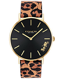 COACH Women's Perry Animal Print Leather Strap Watch 36mm