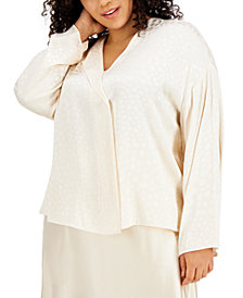 Alfani Plus Size Collared Blouse, Created for Macy's