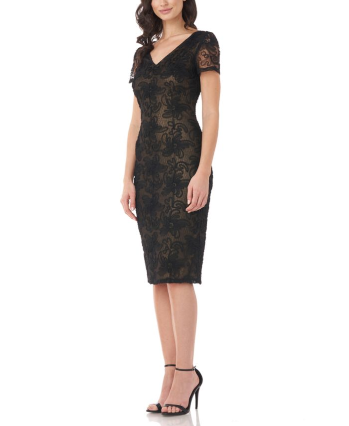 JS Collections Textured V-Neck Sheath Dress & Reviews - Dresses - Women - Macy's