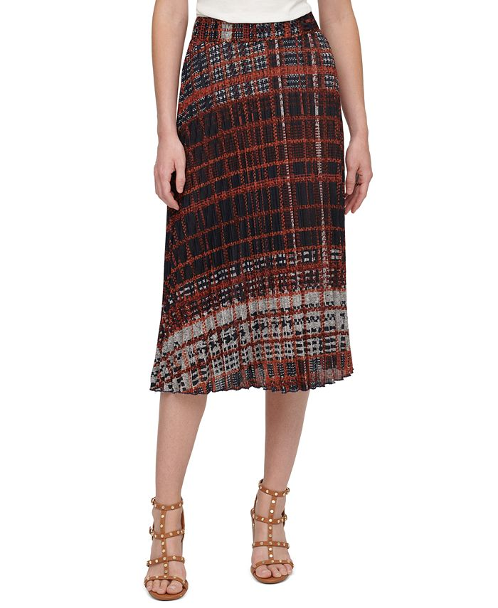 DKNY - Printed Pull-On Pleated Midi Skirt
