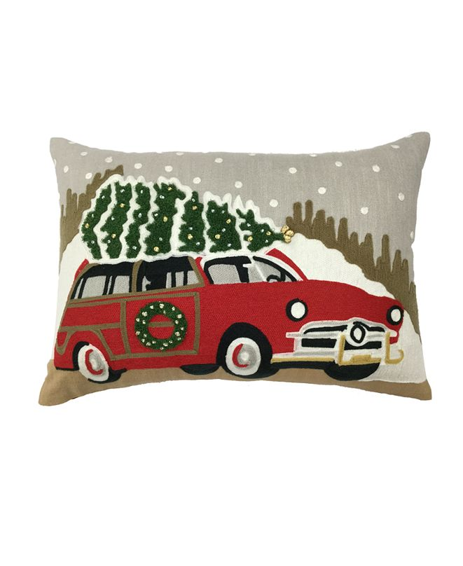 """Martha Stewart Collection Christmas Tree Truck 14"""" x 20"""" Decorative Pillow, Created For Macy's"""
