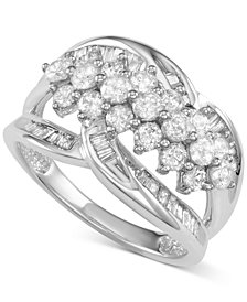 Diamond Cluster Open Statement Ring (1-1/2 ct. t.w.) in 14k White Gold