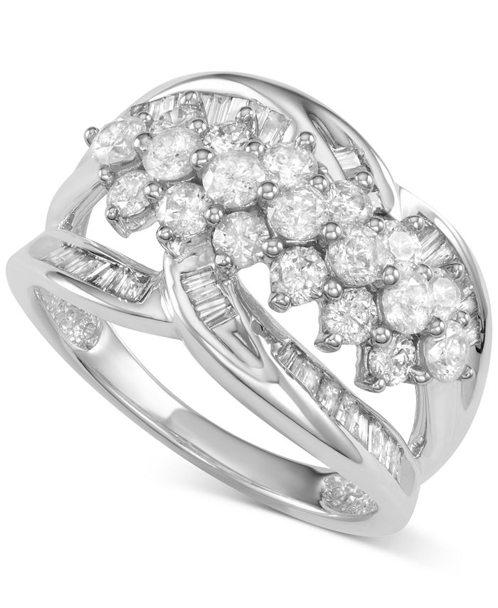 Macy's - Diamond Cluster Open Statement Ring (1-1/2 ct. t.w.) in 14k White Gold