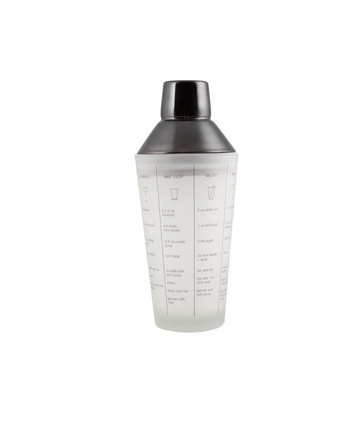 Thirstystone - FROSTED GLASS RECIPE SHAKER WITH BLACK STAINLESS STEEL CAP AND STRAINER