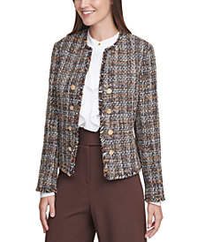Calvin Klein Tweed Cropped Jacket, Regular & Petite Sizes