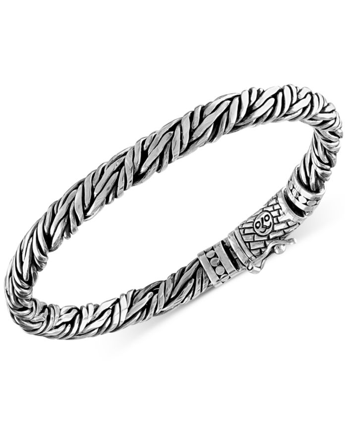 Esquire Men's Jewelry Rope-Look Bangle Bracelet in Sterling Silver, Created for Macy's & Reviews - Bracelets - Jewelry & Watches - Macy's