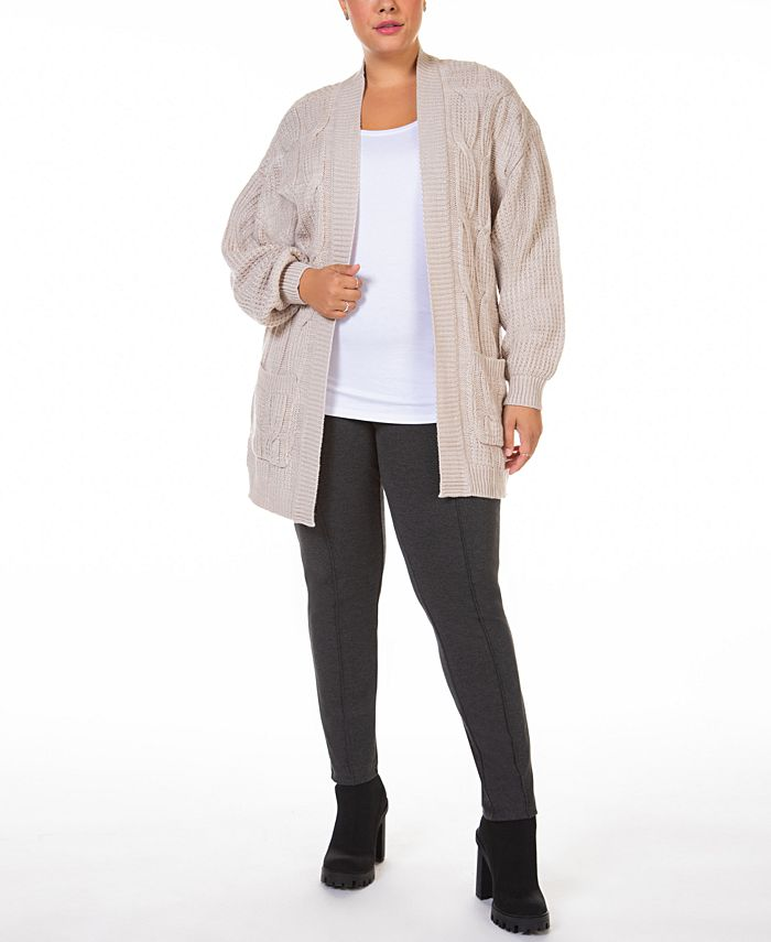 Black Tape - Plus Size Open-Front Cable-Knit Cardigan Sweater
