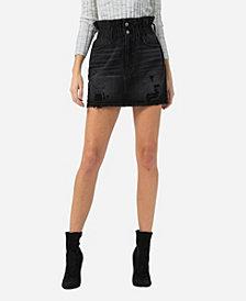 VERVET Women's Paperbag Distressed Mini Skirt