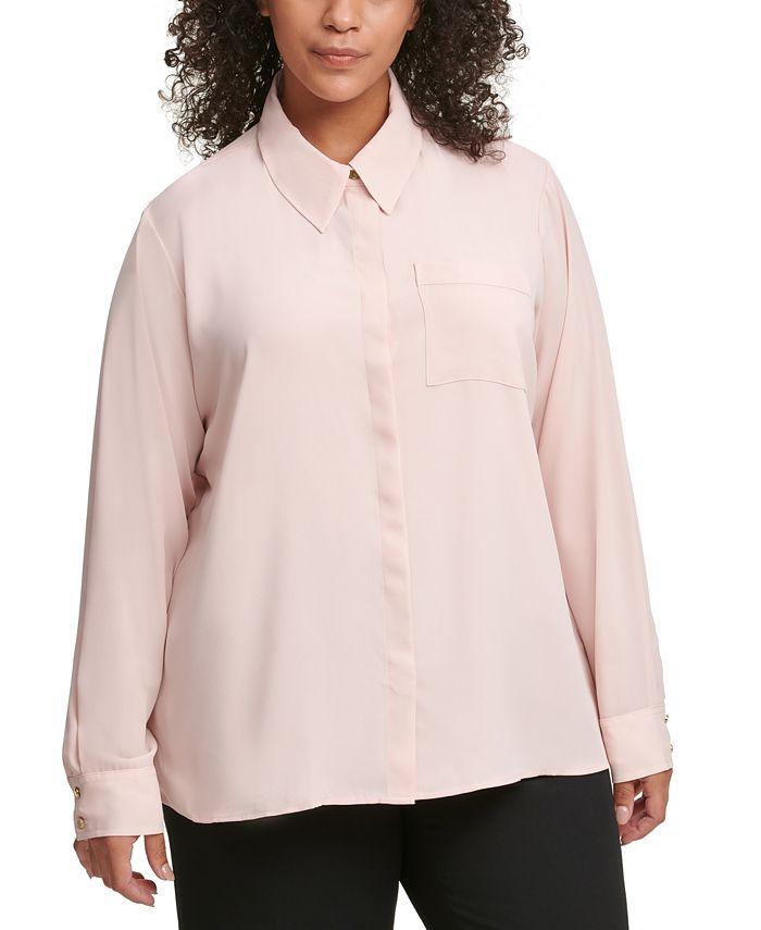 Calvin Klein - Plus Size Buttoned One-Pocket Blouse