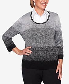 Alfred Dunner Women's Plus Size Classics Ombre Two For One Sweater