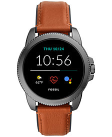 Fossil Men's Gen 5E Brown Leather Strap Touchscreen Smart Watch 44mm