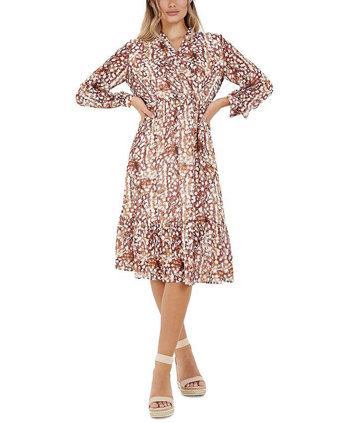 QUIZ - Juniors' Printed Midi Wrap Dress