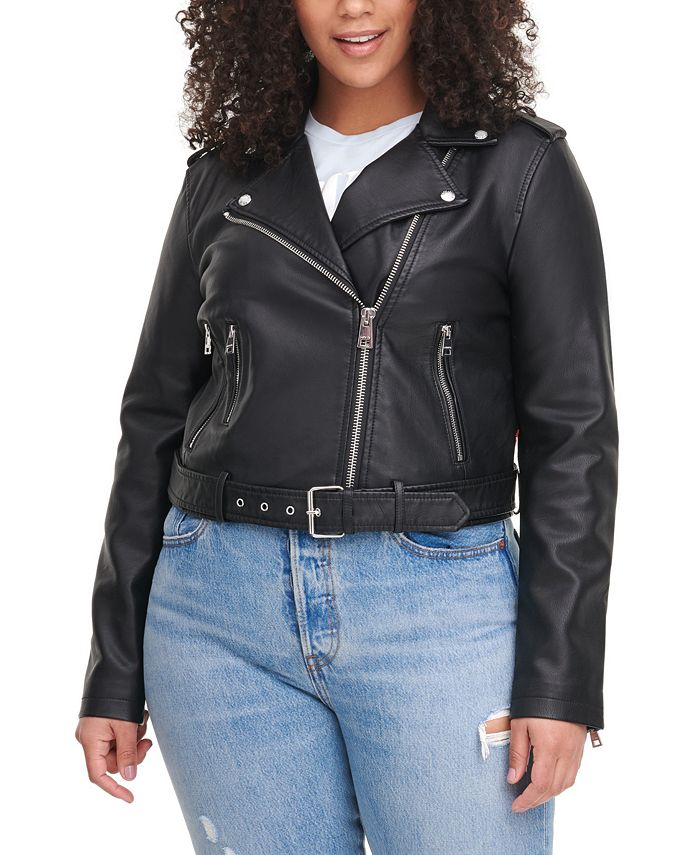 Levi's - Faux-Leather Belted Moto Jacket