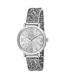 Bob Mackie Women's Silver-Tone Alloy Bracelet Glitz Watch, 36mm