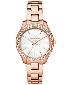 Michael Kors Women's Liliane Rose Gold-Tone Stainless Steel Bracelet Watch 36mm