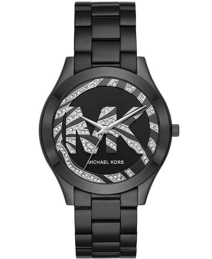 Michael Kors - Women's Slim Runway Black IP Stainless Steel Bracelet Watch 42mm MK4562