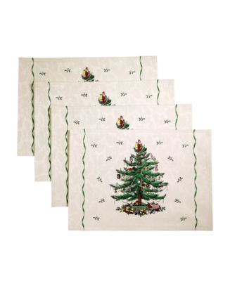 Christmas Tree Ivory/Green 4pc Placemats