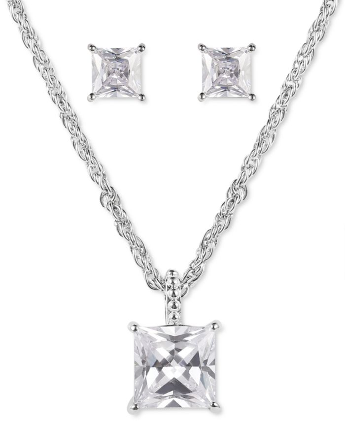 Charter Club Silver-Tone Square Crystal Pendant Necklace & Stud Earrings Set, Created for Macy's & Reviews - Fashion Jewelry - Jewelry & Watches - Macy's