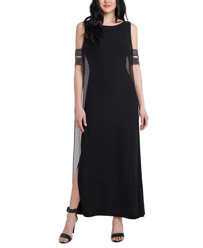 MSK - Cold-Shoulder Overlay Gown