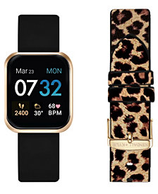 Women's Kendall + Kylie Black and Leopard Print Straps Smart Watch Set 36mm
