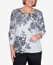 Alfred Dunner Women's Madison Avenue Scroll Lace Floral Sweater