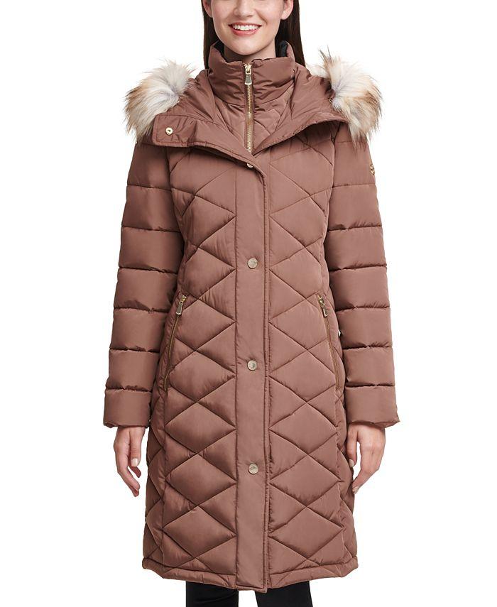 Calvin Klein - Diamond-Quilt Faux-Fur Trim Hooded Puffer Coat